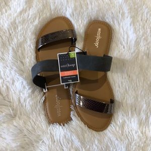 WEST LOOP women's gray and tan sandals.